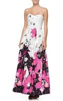 Milly Ava Strapless Floral Gown - Lyst