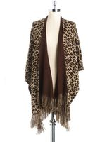 Echo Leopard Print Knit Poncho - Lyst