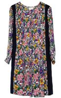 Band Of Outsiders Floral Blocked Trapeze Dress - Lyst