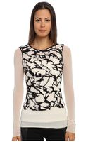 Jean Paul Gaultier Tulle Long Sleeve Scoop Neck Top with Mohair Embroidery - Lyst
