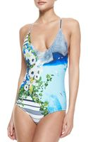Clover Canyon Corfu Swirl Printed Onepiece Swimsuit - Lyst