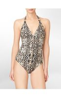 Calvin Klein Animal Print Halter One-piece Swimsuit - Lyst