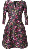Oscar de la Renta Floral Print Flared Dress - Lyst