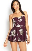 Forever 21 Strapless Floral Skort Dress - Lyst
