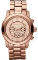 Michael Kors Runway Oversized Rose Goldtone Stainless Steel Watch - Lyst