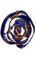 Oscar de la Renta Resin Painted Flower Brooch - Lyst