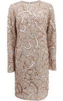 Monique Lhuillier Longsleeve Sequin Dress - Lyst