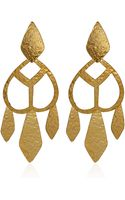 Herve Van Der Straeten Goldplated Cut Out Drop Earrings - Lyst