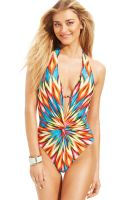Kenneth Cole Printed Plunge Onepiece Swimsuit - Lyst