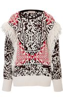 Emilio Pucci Intarsia Knit Pullover with Fringe - Lyst