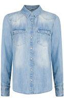 Mango Bleached Denim Shirt - Lyst