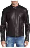 Versace Jeans Perforated Leather Moto Jacket - Lyst