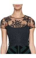 Burberry Prorsum Floralembroidered Tulle Top - Lyst