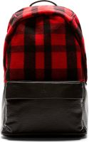 McQ by Alexander McQueen Red Tartan and Black Leather Backpack - Lyst