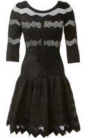Azzedine Alaïa Black Stretch Velvet and Mesh Dress - Lyst
