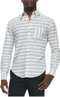 Band Of Outsiders Horizontal Stripe Button Down Shirt - Lyst