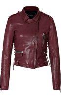 Barbara Bui Laced Leather Biker Jacket - Lyst