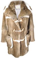 Band Of Outsiders Preorder Hooded Duffel Rabbit Fur Coat - Lyst