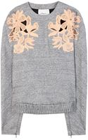 3.1 Phillip Lim Marl Sweater with Lace Appliqué - Lyst