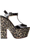 Christian Louboutin Leopardraffia Platform Sandals - Lyst