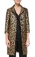 St. John Long Leopard Print Topper with Three Quarter Sleeves - Lyst