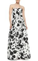Milly Ava Floralprint Strapless Gown - Lyst