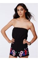 Missguided Ortensia Premium Embroidered Bandeau Playsuit - Lyst