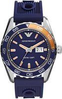 Emporio Armani Mens Navy Silicone Strap Watch 46mm - Lyst