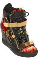 Giuseppe Zanotti 90mm Floral Print Velvet Wedged Sneakers - Lyst
