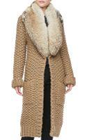 Michael Kors Hand Knit Long Furcollar Cardigan - Lyst
