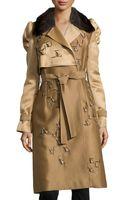 Carolina Herrera Fur-collar Trenchcoat - Lyst