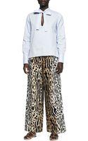 Valentino Leopardprint Fullleg Ankle Pants - Lyst