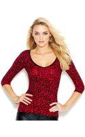 Guess Three-quarter-sleeve V-back Leopard-print Sweater - Lyst