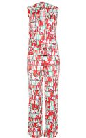 Kenzo Printed Satin Jersey Jumpsuit - Lyst