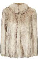 Topshop Chunky Faux Fur Coat - Lyst