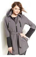 Betsey Johnson Hooded Fauxleathertrim Belted Coat - Lyst