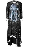 Preen Satin Devore Dress with Graphic Print - Lyst