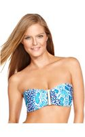 La Blanca Snakeskinprint Bandeau Bikini Top - Lyst