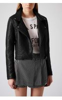 Topshop Textured Faux Leather Biker - Lyst