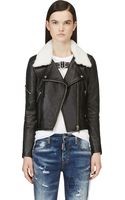 Golden Goose Deluxe Brand Black Shearling and Leather Bear Biker Jacket - Lyst