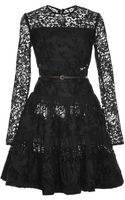 Elie Saab Long Sleeve Lace and Brocade Flounce Dress - Lyst