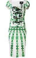 Class Roberto Cavalli Abstract Print Dress - Lyst