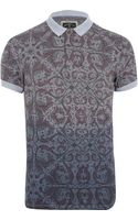 River Island Grey Holloway Road Abstract Print Polo Shirt - Lyst