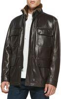 Andrew Marc Fur-trim Leather Car Coat - Lyst