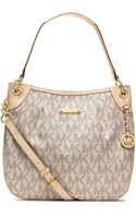 MICHAEL Michael Kors Large Jet Set Signature Pvc Shoulder Bag - Lyst