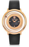 Versace Venus Stainless Steel Wblack Leather Strap Womens Watch - Lyst