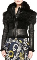 Burberry Prorsum Cropped Fur Leather Jacket - Lyst