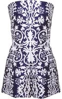 Martin Grant Navy and White Print Short Bustier Jumpsuit - Lyst