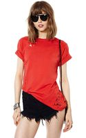 Nasty Gal After Party Vintage Hole Lotta Love Tee Red - Lyst