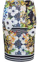 Clover Canyon Floral Tile Print Neoprene Skirt - Lyst